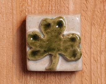 """2x2"""" handmade ceramic shamrock tile"""