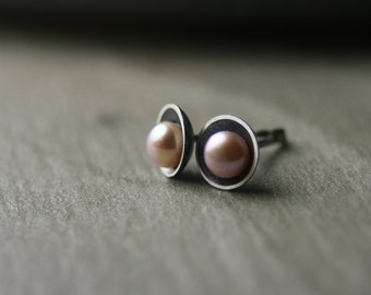 Freshwater pink button pearl and oxidized sterling silver post stud earrings