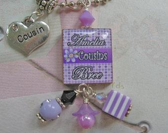Personalized cousins  Scrabble tile necklace, pendant