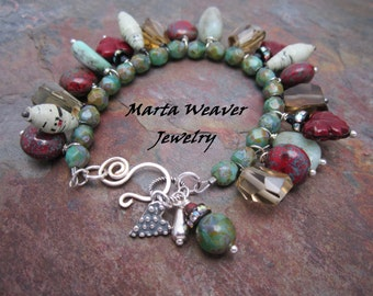 Boho Maple Leaf and Gemstone Bracelet, Marta Weaver Jewelry with Sterling Heart,Free Shipping, Valentine, Birthday, Anniversary Gift,