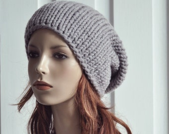 Hand knit hat - chunky hat, slouchy hat / Grey hat - ready to ship