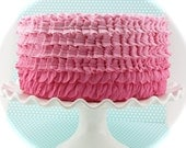 """Fake Ruffle Ombre Cake Hot Pink, Bubble Gum and Pink Frosting Approx. 9""""w x 4.25""""h Smash Cake Prop, First Birthday Props"""