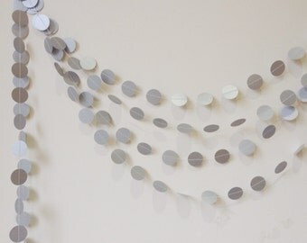"Silver Paper Garland - Silver Wedding Garland - Party Decor -  Bridal Shower - Christmas Decor - Birthday - Choose Your Length - 1"" Circles"