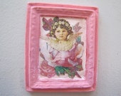 Dollhouse miniature picture of a girl and flowers decoupage