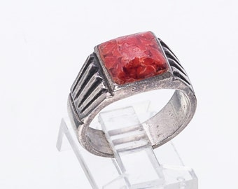 Navajo Coral Ring - 50s/60s Cast Cigar Band -  Sterling Chisel Ring - sz 7 - Best Buy