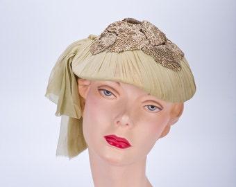 20s French Hat - Green Rayon Chiffon - Galeries Lafayette Paris