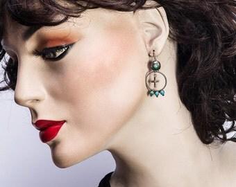 Early Zuni Turquoise Earrings - 40s/50s Hand Made Hooks - Cross & Snake Eye