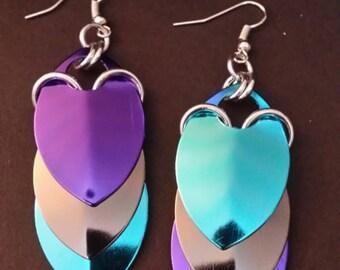 Aqua, Grey and Purple Aluminum Scalemaille Earrings