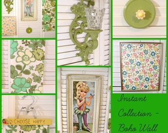 Instant Collection   70's Boho Gallery Wall Grouping in Green