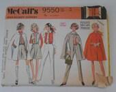 Vintage 60s Cape Pants Vest and Culottes Pattern McCalls 9550 Size 16 Bust 38