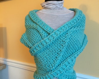 Aqua Knit Wrap - Sweater Vest - Knit Wrap - Shoulder Wrap - Knit Vest - Sweater - Aqua Blue - Wool Wrap