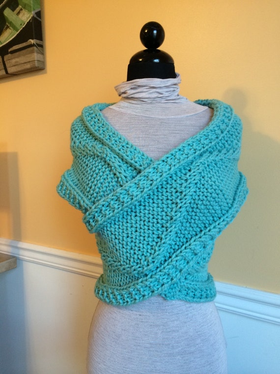 Aqua Knit Wrap Sweater Vest Knit Wrap Shoulder Wrap