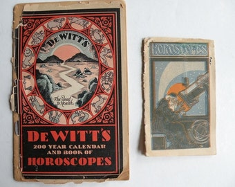 Horoscope almanacs, 2 paper ephemera, astrology zodiac antique vintage advertising, 1913 antiquarian retro office gift book booklet