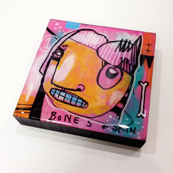 Bones - Original Mini-Painting on Wood with Resin Finish
