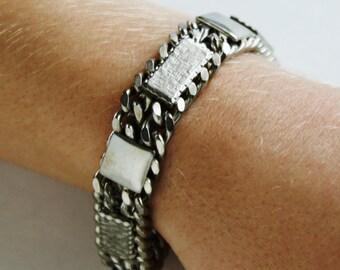 Vintage Heavy Metal Link Bracelet Chunky design