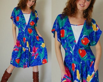 Graphic Abstract  Dress Vintage Blue Abstract Floral Print Draped Indie Boho Dress  (s m)