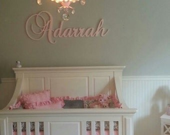 Large Script Decorative Wooden Wall Name Personalized Connected Letters GLITTERED Child Nursery
