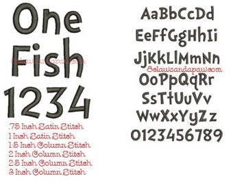 One Fish Embroidery Font Includes 6 Sizes