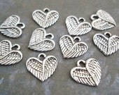 Heart Wing Charms Silver Antiqued 10