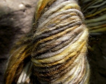 Handspun yarn, handpainted BFL wool yarn worsted thick and thin  multiple skeins available-BARRED OWL