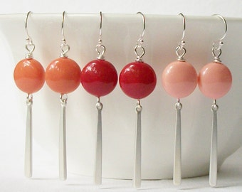 Coral Pearl Drop Earrings, Red Coral, Pink Coral, Pale Coral