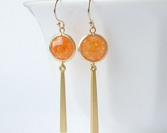 Orange and Gold Mod Earrings