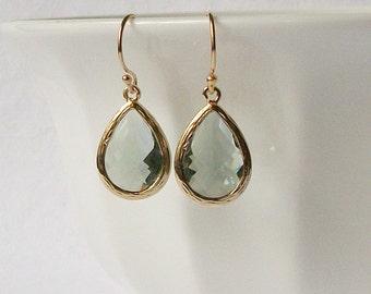 Grey Crystal Drop Earrings