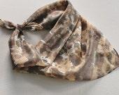 Hand Painted Silk Square Scarf - Hand Dyed Bandana Brown Tan Cream Black Gray Grey Charcoal Animal Print Cheetah Leopard