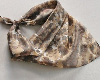 Hand Painted Silk Square Scarf - Hand Dyed Bandana Brown Tan Cream Black Gray Grey Charcoal Animal Print Cheetah Leopard