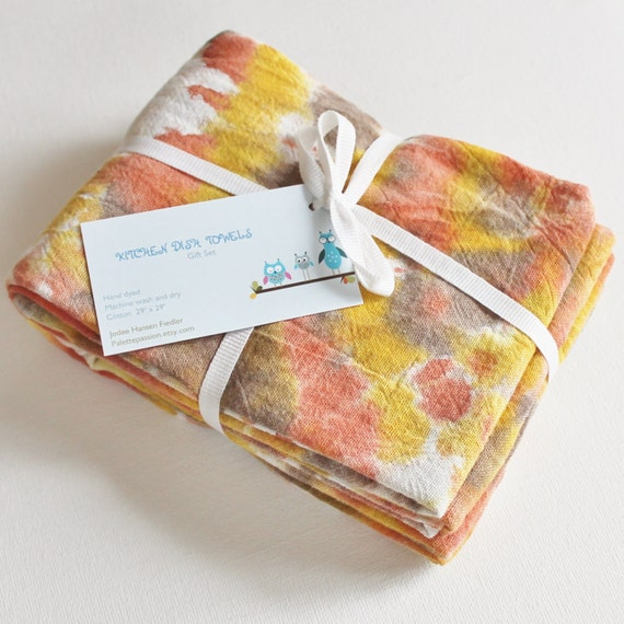 Hand Dyed Kitchen Towels Flour Sack Tea Towel Set of 2 Tie