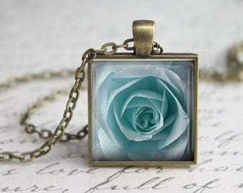 Blue Rose  Glass Pendant -Blue Rose Jewelry -Rose  Necklace - Art Pendant - Blue  Necklace -Blue Rose  Charm,Blue Rose Gift