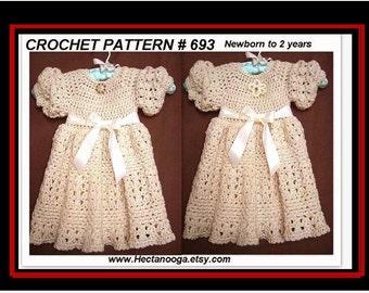 Crochet Dress Pattern, Girls Fancy Dress - Baby Dress - Children's clothing, Easy pattern, Crochet for Baby, toddler #693