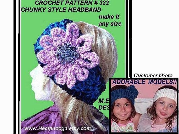 Crochet Pattern headband num. 322 CHUNKY style Blue HEADBAND and  flower, button in back)...  Permission to sell your finished headbands