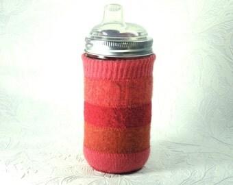 Jar Cozy - 3/4 pint size - stripes - red