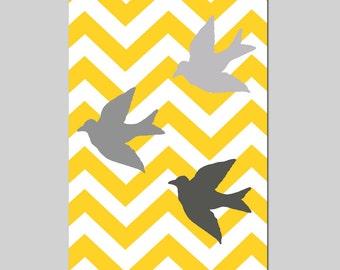 Chevron Birds - 11x17 Bird Silhouette Print - Modern Nursery Decor - Kids Wall Art - CHOOSE YOUR COLORS