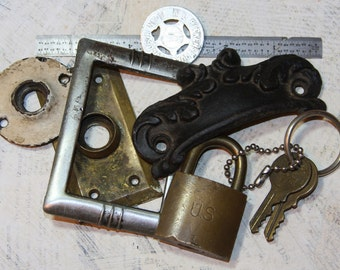 HARDWARE Salvage Altered Art Supply Lot Escutcheons Rosettes Lock Ruler Keys