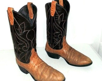 Mens 8 D Cowboy Boots Distressed Two Tone Brown Country Western Rockabilly Shoes