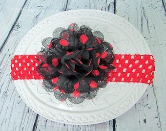 baby headband, baby girl headband, ladybug headband, polka dot headband, photo prop, crochet headband, black red headband