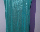 Turquoise All Over Sequin Evening Dress, Plus Size, New Years, Cocktails, Belly Dance, Mother of the Bride