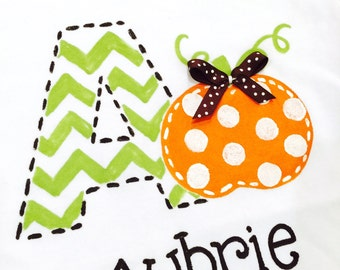 personalized bodysuit or tee, pumpkin with polka dots, chevron initial, pumpkin birthday personalized pumpkin tee boy or girl, pumpkin shirt