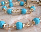 Vintage Anne Klein Chunky Link Toggle Necklace and Bracelet, Faceted Turquoise Beads