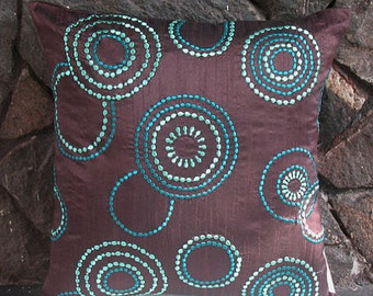 Brown throw pillow embroidered w/ teal blue and aqua blue circles 18inch cushion cover