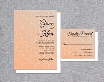Clover Wedding Invitation - Four Leaf Clover Invitations and Response Cards - Tangerine Wedding Invites - Geometric Wedding Invitations