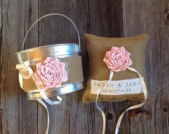 Personalized Ring Bearer Pillow and Flower Girl  Basket, Burlap Pillow, Burlap Wedding, Ring Pillow, Pastel Wedding, Pink Wedding Pillow