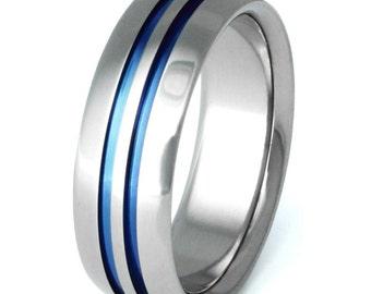 Unique Blue Titanium Wedding Band - Thin Blue Line - Blue Titanium Ring - b1