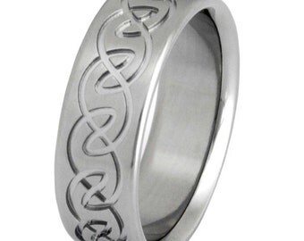 Irish Celtic Titanium  Wedding Band  - ck9