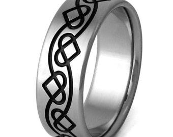 Irish Celtic Titanium Wedding Band  - Black Chain of Hearts - ck25