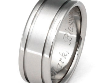 Titanium Wedding  Band - Titanium Ring - Striped Ring - n5