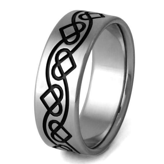 Irish Celtic Titanium Wedding Band  - Black Chain of Hearts - ck25
