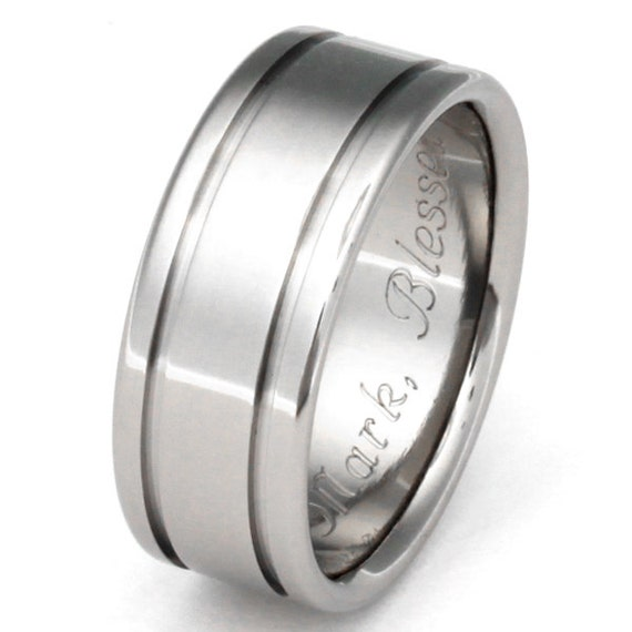 Titanium Wedding  Band - Titanium Ring - Striped Ring - n5